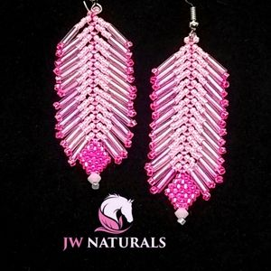 ⭐HP⭐ Handmade Feather Beaded Pink Rodeo Earrings